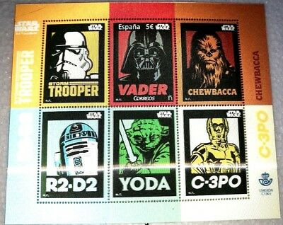 Timbres Espagne. STAR WARS 2017-HOLOGRAM 3-D SHEET. Spain Stamps Block (F