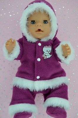 """Play n Wear Doll Clothes To Fit 17"""" Baby Born MAROON JACKET~PANTS~BOOTIES"""