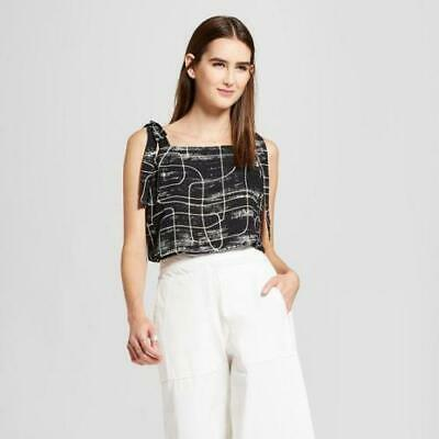 GET 50/% OFF WOMENS DESIGNER ZIPPERED BACK EYELET TOP By MOSSIMO; EBONY!! BUY 3
