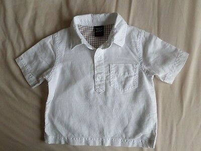 Next Boys White Linen Short Sleeve Polo Shirt Size 3-6 Month