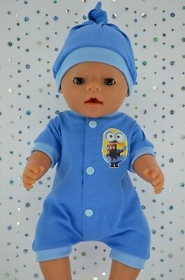 """Play n Wear Doll Clothes To Fit 17"""" Baby Born CHAMBRAY/BLUE ROMPER~HAT"""