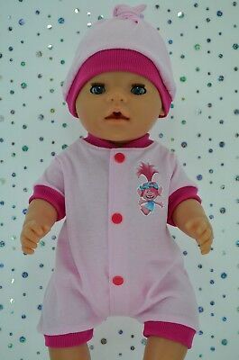 """Play n Wear Doll Clothes To Fit 17"""" Baby Born PINK/HOT PINK ROMPER~HAT"""