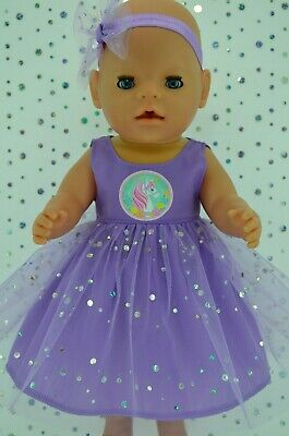 """Play n Wear Doll Clothes To Fit 17"""" Baby Born LILAC SEQUIN DRESS~HEADBAND"""