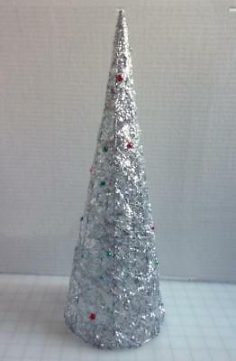 "Silver Tinsel Garland & Wire Wrapped 18"" Christmas Tree Tabletop Decoration"