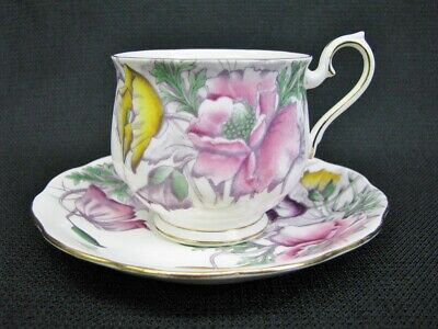 """Royal Albert """"Poppy"""" No. 8 Bone China Hand Painted Cup and Saucer 8th Month Mint"""