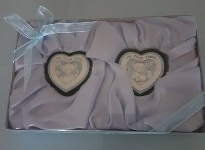 Baby Boy - My First Tooth And Curl Trinket Boxes - Christening, Baptism, Shower