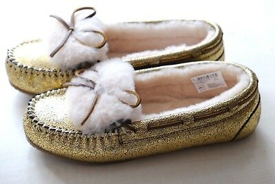 Clarks Gold real leather warm wool ladies slippers sizes 3/35.5, 4/37 D