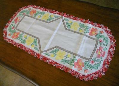 Vtg Embroidered Stunning Art Nouveau Deco Floral Huck Linen Table Runner Scarf
