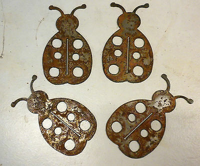 "Lot of 4 Crabs Sea Creature Shapes 4/"" Rusty Metal Vintage Ornament Craft Sign"