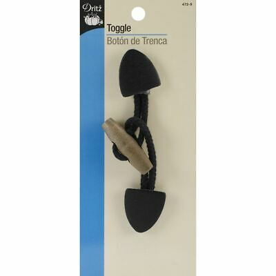Dritz Small Leather Toggle-Black W/Brown Wooden Button -472-9