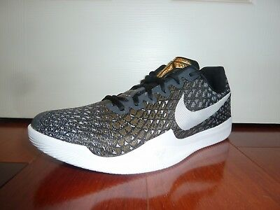 9cf7d68b31b5 Nike Mens Kobe Mamba Instinct Shoes Black White Grey Gold 852473-010 Size  10.5