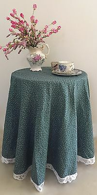 Shabby Cottage Country Chic ROUND Tablecloth/Topper~Green & White Mini Floral