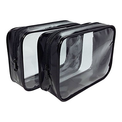 2-Pack TSA Approved Airline Compliant Carry On Travel Toiletry Clear Zipper Bag
