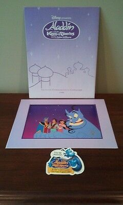 Disney ALADDIN KING OF THIEVES Lithograph and Bonus Button!  MINT!