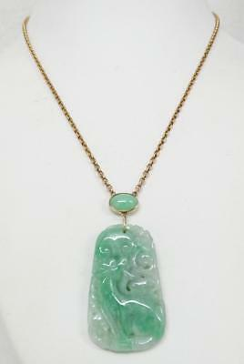 Antique 10K Chinese Carved Moss in Snow Jade Qilin Double Sided Pendant Necklace
