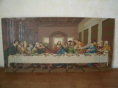 Vintage Paint By Numbers finished Painting - The Last Supper  13.75 x 28