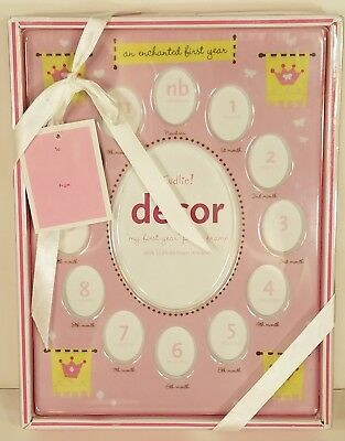 NIP Cudlie Decor baby girls first year pink Princess 13-photo picture frame