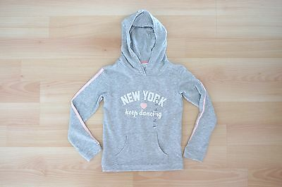 New H&M Girls Boys Kids Hooded Sweatshirt Sz 6-8 Gray Pullover Sweater New York