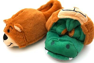 e916570ab74 NEW FlipaZoo KIDS TODDLERS SLIPPERS SIZE SMALL 10 11 ALLIGATOR BEAR GREEN  BROWN