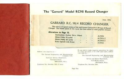 1956 GARRARD RECORD CHANGER Swindon ENGLAND Vintage CATALOG BROCHURE