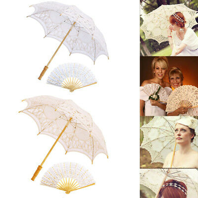 White/Ivory Lace Embroidered Sun Parasol Umbrella Hand Fan Wedding Bridal Shower