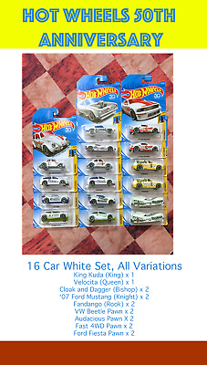"""HOT WHEELS 2018 """"CHECKMATE"""" White Set/Side, Full 16 Cars, Play Chess, New"""