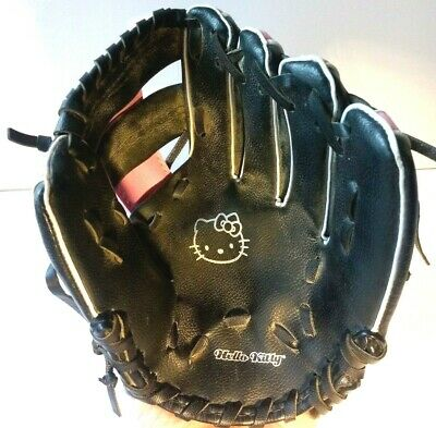 d517e2968 Hello Kitty Black Pink Baseball Glove Right Handed Youth Mitt Black Size 9.5