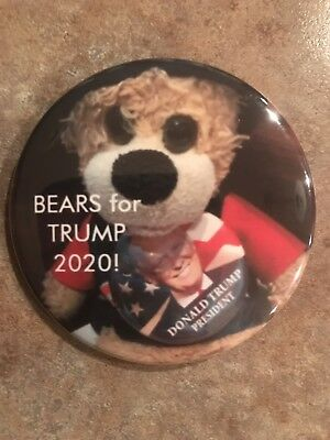 """Bears for Trump 2020""  Donald Trump for President button pin"