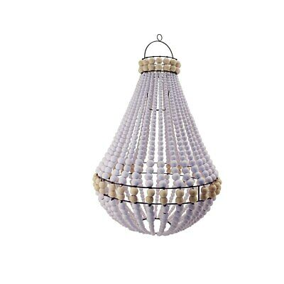 Hamptons wood beaded chandelier white with natural trim