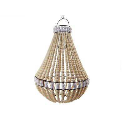 Hamptons wood beaded chandelier natural with white trim