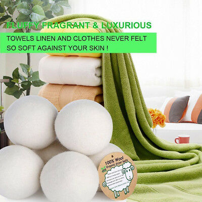 6Pcs Reusable Laundry Clean Practical Home Wool Tumble Dryer Balls Natural
