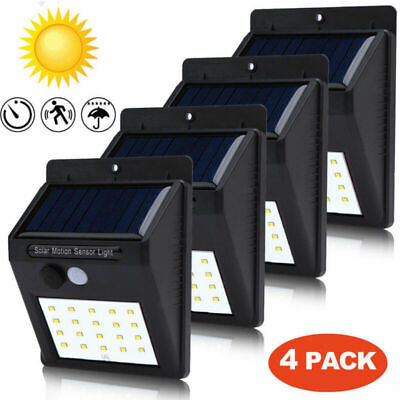 4X 20LED Solar Power Light PIR Motion Sensor Security Outdoor Garden Wall Lamp E