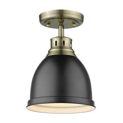 Beaumont Lane Flush Mount in Aged Brass with a Matte Black Shade
