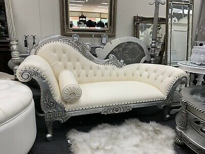 French provincial Chaise Lounge Cream Antique White And Silver