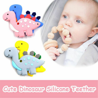 Silicone Teething Toys Baby Teether Beads Chew Necklace Dinosaur Pendant Gifts