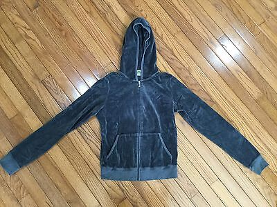 JUICY COUTURE Gray VELOUR Hoodie Zip Front Size Girls L