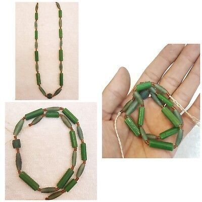 Beautiful Ancient Old Green Glass Strand Beads Wonderful  Swat Necklace #11Z