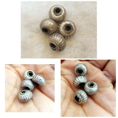 Wonderful Old Silver Egyptian Design 4 Piece Antique Silver Beads    #71M
