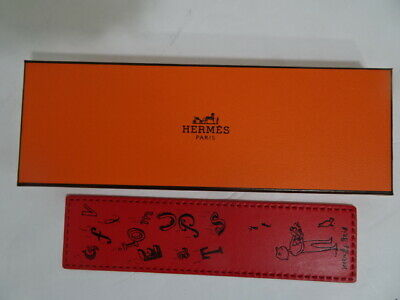 """Hermes """"PIKABOOK"""" Pink Letters Classic Orange Bookmark with Box NEW"""