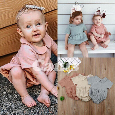 Summer Newborn Baby Girl Ruffle Solid Romper Bodysuit Jumpsuit Outfits Clothes