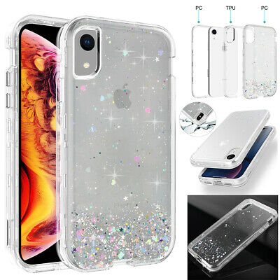 iPhone XR XS Max X Case Glitter Bling Clear Armor Heavy Duty Shockproof Cover