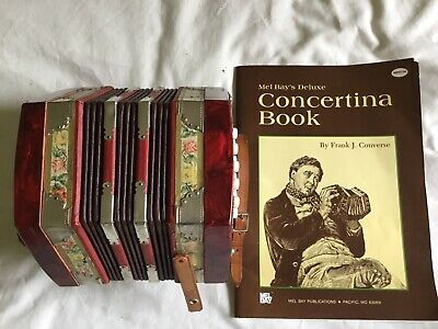 Vintage Concertina Accordion 20-Button. With Music Book