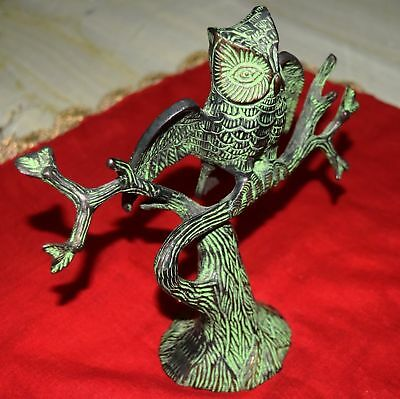 Vintage Style Brass Siberian Owl Figure Big Statue Home Table Decor Sculpture GK