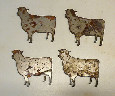 "Lot of 4 Sheep Farm Animal Shapes 3"" Rusty Metal Vintage Ornament Craft Sign"