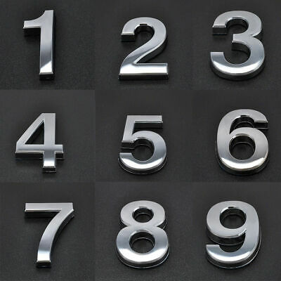 """CHROME 3'' 2"""" DOOR NUMBERS House Numerals Home Self Adhesive Digit plaques Sign"""