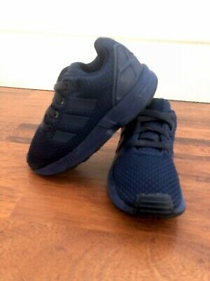 reputable site fc273 ac06f ADIDAS ZX FLUX Navy Blue Canvas Boys Infant Kids Slip On Trainers Size 7