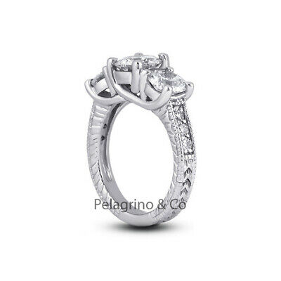 1.77ct F-SI2 Ex Round AGI Natural Diamonds Platinum Engraved Milgrain Ring 3.1mm