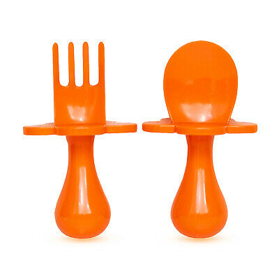 Grabease | First Cutlery For Baby | Fork & Spoon Set | Cutlery Set | Orange