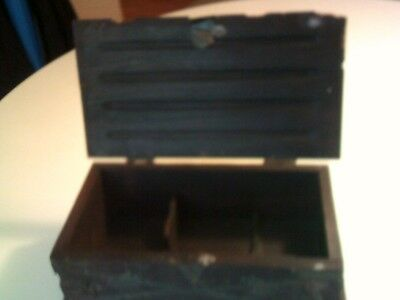 Vintage Mid Century Pirate Jewelry Box Wooden Treasure Chest Trinket Box