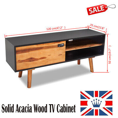 TV Cabinet Entertainment Stand Wood Living Room Furniture DVD Player Door Home